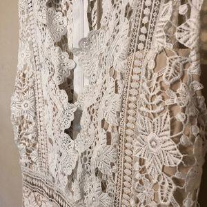White Lace Low Neck Dress